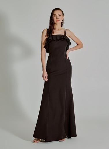People By Fabrika İp Askılı Uzun Abiye Elbise Siyah